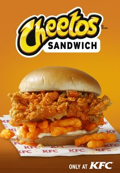 Here it is, Fam: the new KFC Cheetos Sandwich. That's right, a KFC Cheetos Sandwich. KFC Cheetos Sandwich This is essentially what wo. Kfc, Wild Chicken, Chicken Filet, Fried Chicken Sandwich, Crispy Chicken, Baked Chicken, Cheetos, Ideas Sándwich, Kentucky Fried