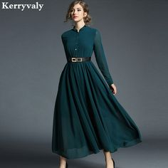New Large Swing Maxi Chiffon Dress Women s New Arrival 2018 Spring Long  Evening Party Dress 2c24a1a664bd