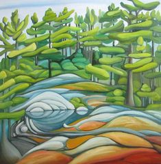 Deb Gibson, Old Woman Island, oil on canvas, Watercolor Landscape, Abstract Watercolor, Abstract Landscape, Landscape Paintings, Abstract Trees, Artist Portfolio, Patterns In Nature, Easy Paintings, Cool Artwork