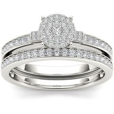 1/2 CT. T.W. Diamond Cluster 10K White Gold Bridal Set ($1,237) ❤ liked on Polyvore featuring jewelry, rings, white gold pave ring, pave jewelry, bridal jewellery, bridal jewelry and diamond cluster ring