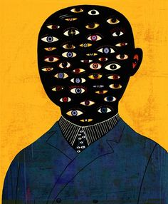 'The Man with too many Eyes', illustration by Beppe Giacobbe, pop art. Art Inspo, Inspiration Art, Art Picasso, Art Et Illustration, Eye Art, Psychedelic Art, Rembrandt, Art Design, Aesthetic Art