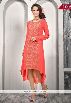 Aspire Orange Embroidery Work Western Wear Kurti