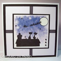 Using 'Silhouette Cats' Christmas Silhouette stamp from Little Claire