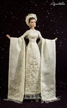 """The """" Rare Jade """" Ao Dai - Vietnamese Traditional Costume by Aquatalis Barbie Gowns, Doll Clothes Barbie, Barbie Dress, Dolly Dress, Bohemian Wedding Dresses, Black Wedding Dresses, Ao Dai, Ball Dresses, Ball Gowns"""