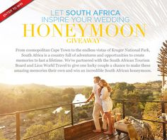 Enter to win a honeymoon in South Africa!