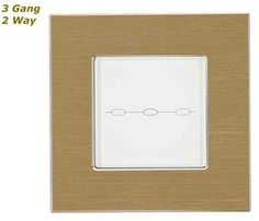 GLSTouch Designer Gold & White Brushed Aluminium Touch Light Switch (On/Off) 3 Gang 2 Way