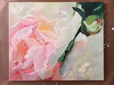 """Original Oil Painting Light Pink Peony Rose. Size 20""""x24"""" inch"""