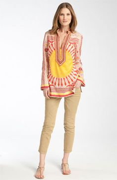 Tory Burch tunic and jeans