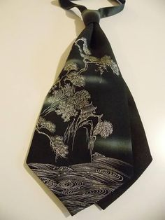 Men's cravat tie made with vintage formal black KIMONO