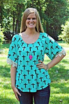 3b61a8bae56 Cross Crochet Top JPS - Mint  48.99  SouthernFriedChics Southern Outfits