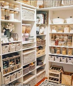 Top 20 most popular decor trends online revealed Kitchen Pantry Design, Home Decor Kitchen, Home Kitchens, Diy Kitchen, Kitchen Interior, Kitchen Organization Pantry, Home Organisation, Organization Ideas, Storage Ideas For Pantry