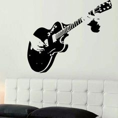 Interesting Wall Art, Home Decor Discount Outlet Show you can rock out when you add this guitar wall mural to your room. – Illusion Decal – D Guitar Wall Art, Music Wall, Guitar Room, Stencil Vinyl, Vinyl Wall Art, 3d Wall, Rooms Home Decor, Diy Bedroom Decor, Art Mural