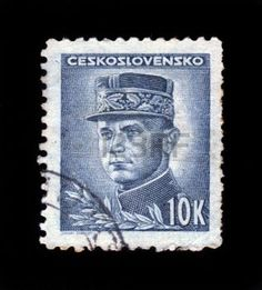 french postage stamp: CZECHOSLOVAKIA - CIRCA 1945 a stamp printed in the Czechoslovakia shows portrait of general Milan Rastislav Stefanik, slovak politician, diplomat and astronomer, circa 1945 Editorial