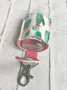 Flowering Cacti Cactus Hand Sanitizer Keychain Case Holder Key Chain, Hand Purifier Lotion Or Sanitizer Keychain Holder, Gifts under 20 - Flowering Cacti Cactus Young Living Thieves Hand Purifier Hand Sanitizer Holder, Sewing To Sell, Fabric Bags, Easy Sewing Projects, Lotion, Purses, Leather, Gifts, Key Chain