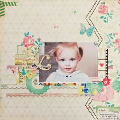 A beautiful layout by Becky Williams using the Maggie Holmes line from Crate Paper.
