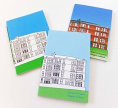 "A lovely ""Shades of Blue"" set of 3 small Glasgow notebooks. This little trio would make a great gift (or give away one and keep the others!!)"