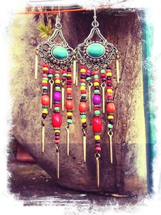 TURQUOISE GYPSY hippie EARRINGS colorful long earrings por GPyoga