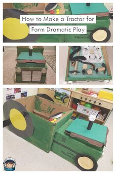 Directions on how to make a pretend farm tractor with an engine for preschool dramatic play out of cardboard and other classroom materials.