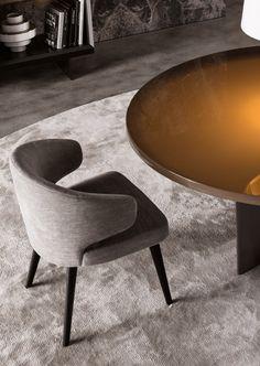 Minotti _ Aston Chair _ by Rodolfo Dordoni Luxury Office Chairs, Luxury Dining Chair, Luxury Chairs, Dinning Chairs, Living Room Chairs, Bar Chairs, Dining Set, Dining Rooms, Minotti Furniture