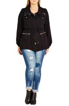 City Chic Lightweight Drawstring Waist Utility Jacket (Plus Size)