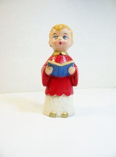 Vintage Chalkware Choir Boy 1960's Hand-painted Hollow by umeone