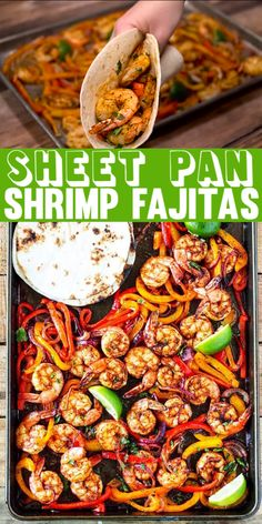 This shrimp fajita recipe is seriously so easy and delicious! All you have to do is scoop the juicy shrimp, tender bell pepper and onions into a soft warm tortilla for a super fast and easy weeknight dinner! dinner recipes for two Sheet Pan Shrimp Fajitas Healthy Dinner Recipes For Weight Loss, Shrimp Recipes For Dinner, Healthy Shrimp Recipes, Dinner Healthy, Shrimp Meals, Lunch Recipes, Healthy Vegetarian Dinner Recipes, Best Recipes For Dinner, Healthy Shrimp Tacos