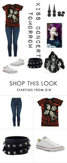 """KISS CONCERT TOMORROW"" by crisis-of-existentiality ❤ liked on Polyvore featuring J Brand, Simmons, Valentino, Converse and Hot Topic"