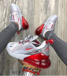 """Nike Air Max 270 """"Wolf Gray Red"""" organic link to shop for what a sick co . Cool Nike Shoes, Nike Air Shoes, Adidas Shoes, Cute Sneakers, Shoes Sneakers, Air Max Sneakers, Shoes Jordans, Mode Converse, Souliers Nike"""