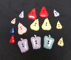 Vintage Resin Assorted Pears and Bell Peppers Buttons 15 Buttons