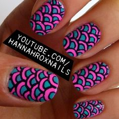 Neon Scales Nail Art. Would like this on my focus nail only, I think I'd get overwhelmed if it was on every nail!