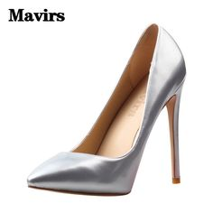 MAVIRS Brand Women Pumps Pointed Silver Black High Heels Footwear Large Size  Party Causal Stiletto Wedding 53e9e35e6f55