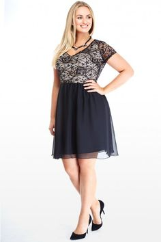 Plus Size Lace and Chiffon Dress | Fashion To Figure