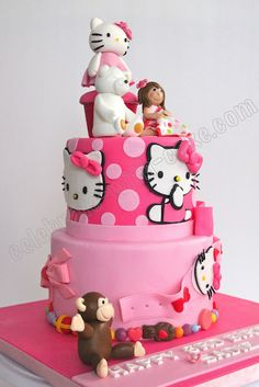 hello kitty cake - I like the top tier with polka dots
