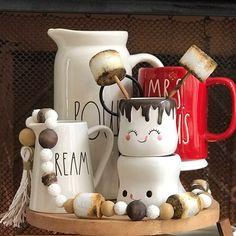 Hot Cocoa / S'more Station Decor Marshmallow Wood Bead Garland Christmas Themes, Christmas Crafts, Christmas Decorations, Christmas 2019, Wood Bead Garland, Beaded Garland, Cocoa Party, Hot Cocoa Bar, Cute Coffee Mugs