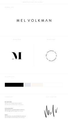 Mel Volkman Brand Style Guide Modern Brand Design Modern Logo Hand Lettering