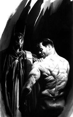 Great art by Alex Ross. A shirtless Batman that has been beaten and scarred to hell. Alex Ross, Comic Book Characters, Comic Books Art, Book Art, Gotham, Geeks, Illustration Batman, Dc Comics, Batman Kunst