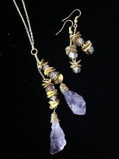 Double Drop Necklace Earrings Amethyst Jewelry Set Gemstone