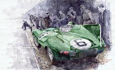 Yurly Shevchuk WATERCOLOR Jaguar D-type 1955 Le Mans