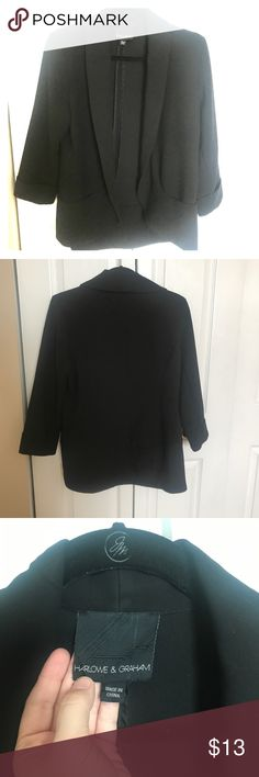 Draped Blazer Super cute, casual black blazer. Size L. Draped and comfortable while still pulling together any outfit. Purchased at Nordstrom Rack. Fabric has some slight pilling. Price reflects. Harlowe & Graham Jackets & Coats Blazers