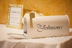 DIY Mailbox for wedding cards. Buy a plain white mailbox. Cut out ...