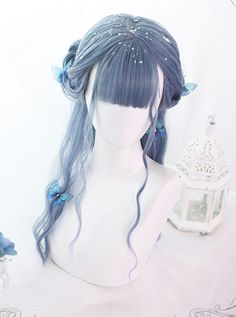 Kawaii Hairstyles, Pretty Hairstyles, Wig Hairstyles, Anime Wigs, Anime Hair, Cosplay Hair, Cosplay Wigs, Long Curly Hair, Curly Hair Styles