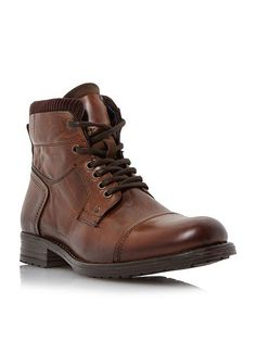 Dune - Calabash Padded Cuff Leather Lace Boots