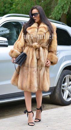 NEW GOLD RUSSIAN SABLE FUR TRENCH COAT CLAS JACKET MINK FOX LYNX CHINCHILLA VEST | eBay