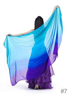 Gradient Pure Silk Wrap Shawl Veil Scarf Belly Dance 2 Sizes 13 Colors | eBay