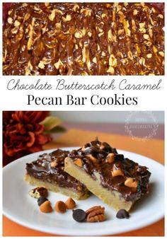 Chocolate and Butterscotch Caramel Pecan Bars