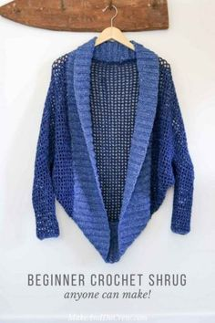 """Don't let the dolman sleeves modern silhouette fool you, this easy crochet shrug pattern is constructed with basic stitches and simple shapes. Great four season sweater for confident beginners! Free pattern using Lion Brand Jeans yarn in """"Classic"""" and """"Stonewash."""""""