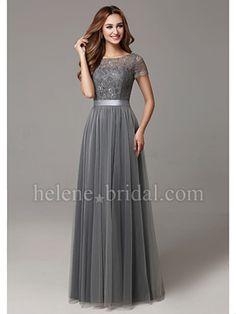 A-Line Bateau Long / Floor-Length Lace Tulle Bridesmaid Dress - US$ 119.99 - Style BD10226 - Helene Bridal