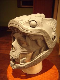 PP: Quetzalcoatl warrior mask helmet WIP! this will be painted and sport a feather crest flowing backwards and behind. Mascara Papel Mache, Aztec Culture, Aztec Warrior, Sculptures Céramiques, Aztec Art, Cool Masks, Mesoamerican, Masks Art, Fantasy Armor