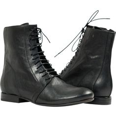 "PAOLO IANTORNO Susie Black ""Nero"" Nappa Leather Laced up Short Boots ($269) ❤ liked on Polyvore featuring shoes, boots, ankle booties, black, black lace up bootie, ankle boots, black ankle boots, black booties and lace up booties"