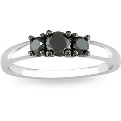 43ae0bd1f Click here for Ring Sizing Chart.Black diamond three-stone ringJewelry is  crafted of